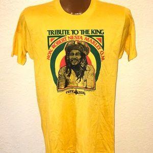 Bob Marley Tribute Screen Stars 1982 T Shirt. Rare